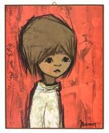 60er Wandbild Jaklien Moerman Mädchen mit weißem Pullover vor rotem Hintergrund