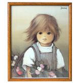 80er Jaklien Moerman Bild Mädchen mit Blumen
