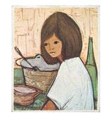 60er Mini Wandbild Jaklien Moerman Frau am Tisch