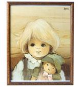 80er Jaklien Moerman Bild Mädchen mit Puppe und Hut