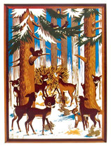 70er Fensterbild Tiere im Winterwald