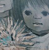 60er Wandbild Jaklien Moerman Zwei Mädchen mit Dahlien