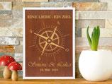 Holzbild  Kompass zur Hochzeit DIN A3 mit Rahmen