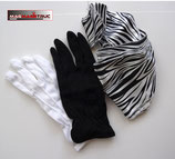 BLACK & WHITE  ZIBRA STREAMER- Gants N&B + streamer zébré.