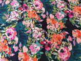 Viskose Blumen pink/dunkelblau