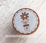 Wood vaso e fiori - w23001