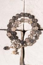 Quarzarmband mit Perlen - und Quarzanhänger und 925er Echtsilber QU0006