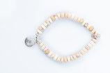 Serendipity Howlith Armband mit Blume des Lebens 925 er Echtsilber (weisser Türkis)