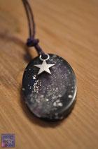 """""""Stardust""""- Kette  oval schwarz/ lila"""
