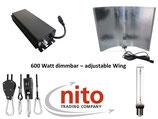 Growlight Set: mit dimmbaren elektronischen VSG (250-660 Watt), vollständig verkabeltem Adjustable Wing, NDL und Aufhängung