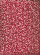Goma eva corazones rojo-plata