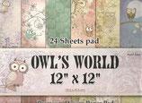 "Owl´s World 12""x12"" 24 hojas"