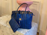 MCM Tasche Liz Shopper Project Visetos blau + Pochette