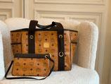 MCM Tasche Shopper Visetos cognac + Pochette