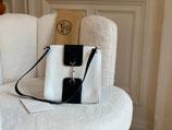 Hermès Tasche Pochette Leder weiß blau Kelly