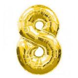 Folieballon Cijfer 8 Goud