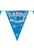 Vlaggenlijn Happy birthday Blauw