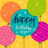 Wenskaart Happy Birthday Balloons