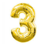 Folieballon Cijfer 3 Goud