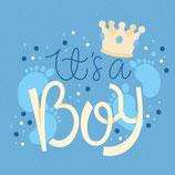 Wenskaart It's a Boy Prince