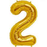 Folieballon Cijfer 2 Goud
