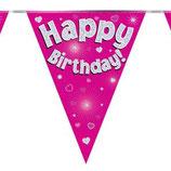 Vlaggenlijn Happy birthday Pink