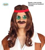 Hippie pruik bruin met snor
