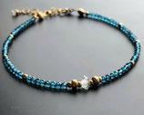 London Blautopas Armband mit Herkimer Diamant, Gold filled, November Geburtsstein Geschenk