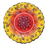 Plato, Cenefillas Colores, 25 cm, sonnengelb-rot mit Blumenmuster