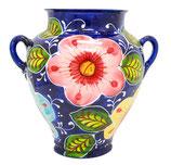 Surtida grande, blau mit Blumenmuster, Wandtopf, Hängetopf, 26 cm