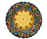 Plato, Cenefillas Colores, 25 cm, braun-goldgelb mit Blumenmuster