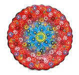 Plato, Cenefillas Colores, 25 cm, rot-türkis mit Blumenmuster