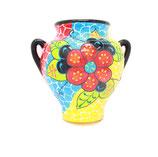 Surtida, Wandtopf, Hängetopf, 21 cm, Blumenmuster türkis-rot