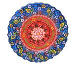 Plato, Cenefillas Colores, 25 cm, rot-blau mit Blumenmuster