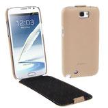 Etui en cuir véritable Pour Galaxy Note 2 N7100 N7105 (Beige)