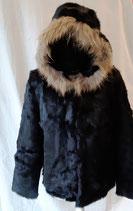 Veste noire avec capuche en fourrure véritable Taille L