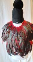Gilet plumes véritables NEVADA LOVE noir/rouge