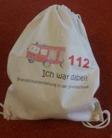 """Turnbeutel """"112 - Ich war dabei"""" - Brandschutzerziehung sportlich beenden."""
