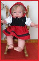 Faschingskostüm Rotkäppchen für Puppen Gr. 43 cm