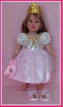 Faschingskostüm Prinzessin für Puppen Gr. 40 cm