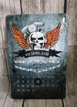 Blechschild/Kalender Biker
