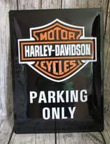Blechschild Harley-Davidson Parking only