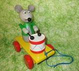Maus mit Trommel zum Nachziehen - ca. 20 cm  - für Kinder ab 1 Jahr