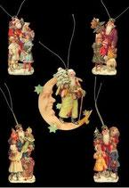 Geschenkanhänger Glanz-Reliefbilder Nikolaus/Mond