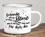"""Emaille-Tasse """"Freunde sind wie Sterne"""""""