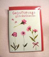 "Mini-Karte ""Geburtstags-Glückwünsche"" Blumenmotiv"
