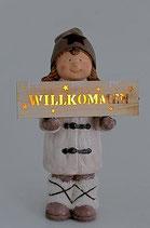 """Winterkinder mit Leucht-Schild """"Willkommen"""""""