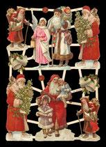 Glanzbilder-Bogen Nikolaus mit Engel, Kind oder Baum