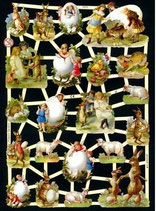 Glanzbilderbogen Hasen, Kinder und Eier