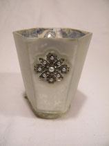 Teelichtglas Perlenormament